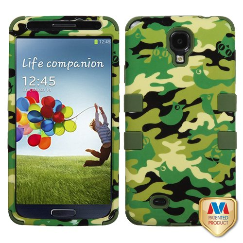 Phonetatoos (Tm) For Galaxy S 4 (I337/L720/M919/I545/R970/I9505/I9500) Green Woodland Camo/Army Green Tuff Hybrid Phone Protector Cover - Lifetime Warranty front-715253
