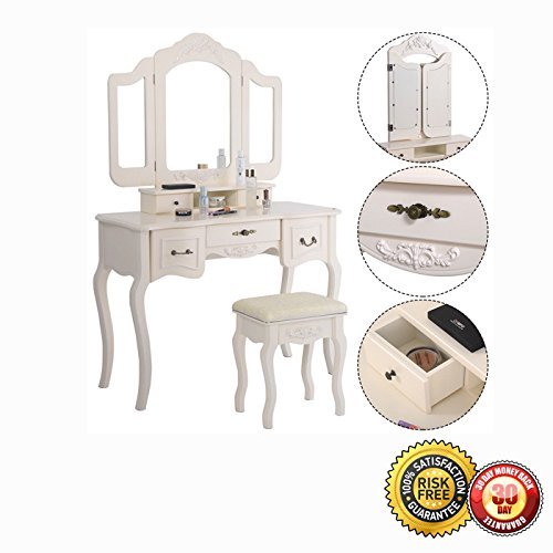 New Tri Folding Vintage White Vanity Makeup Dressing Table Set 5 Drawers &stool 2