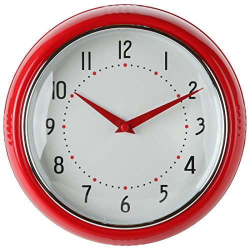 Lily's Home Retro Kitchen Wall Clock, Large Dial Quartz Timepiece, Red, 9.5