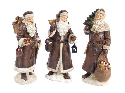 Set of 3 Nature's Peace Vintage-Style Santa Claus Christmas Table Figurines 12″