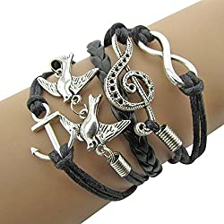 Sortitio's Music Bird Anchor Black Bracelet