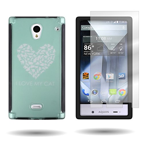 CoverON® for Sharp Aquos Crystal Hard Slim Case Hybrid Protective Phone Cover w/ Rubberized Coating + Non-Slip Grip Bumpers + Clear Screen Protector - Teal Cat Heart Design (Sharp Aquos Phone Case Cat compare prices)