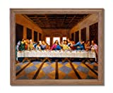 Jesus Christ The Last Supper Religious Picture Oak Framed Art Print