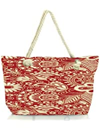 Snoogg Floral Red And White Women Anchor Messenger Handbag Shoulder Bag Lady Tote Beach Bags Blue