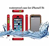 Queens® Nest Arrive Two Colors Waterproof Dustproof Snowproof Shockproof Hard Armor Protective Cover Case for Apple Iphone 5/5s (A-red/green Boutton Queens® Case Cover)