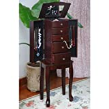 Traditional Style Espresso Jewelry Armoire Chest