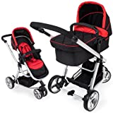TecTake 3 in 1 Pushchair stroller combi stroller buggy baby jogger travel buggy kid's stroller black - red