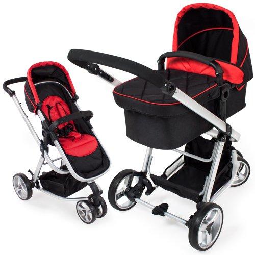TecTake 3 in 1 Kinderwagen Kombikinderwagen Buggy Babyjogger Reisebuggy Sportwagen Kids schwarz rot