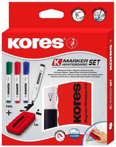 KORES kit de marqueurs pointe ogive pour tableau blanc, 4 marqueurs + effaceur