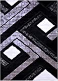 Grey Black White Contemporary Modern Geometric Abstract Design Shaggy Shag Area Rug Royal Collection (6011) (Grey, 3'x5')