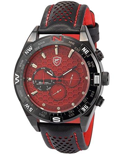 (シャーク)Shark ホット ファッション 6ハンズ ブラック レザー バンド スチール ケース アーミ スポーツ クォーツ 腕時計SH082