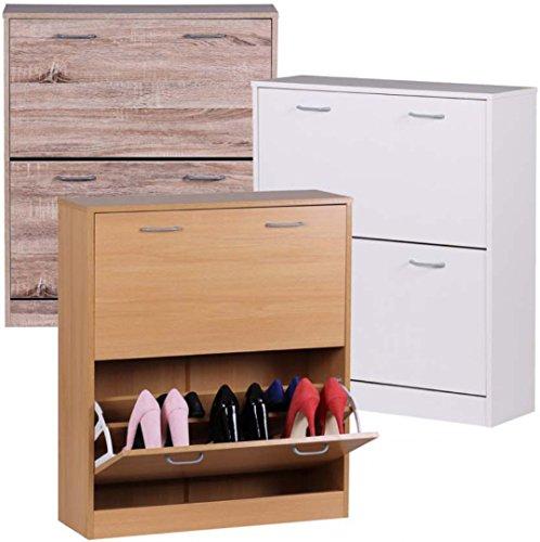 FineBuy-FINN-Schuhkipper-Kommode-schmal-Schuhschrank-zu-Cabinet-Schuhkommode-Flur-Holz-75cm-breit-87cm-hoch-24cm-tief-20-paar-Schuhe-Doppelreihe-geschlossen-Garderobe-2-Klappen-doppel-t-Buche