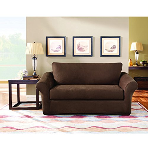 Sure Fit Stretch Suede Loveseat Slipcover Chocolate