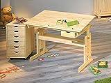 Kinderschreibtisch-Julia-Rollcontainer-Nils-Kiefer-Komplettset