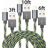 GOLDEN-NOOB3Pack 3 6 10FT Nylon Braided Popular Lightning Cable 8Pin to USB Charging Cable Cord with Aluminum Heads for iPhone 6/6s/6 Plus/6s Plus/5/5c/5s/SE,iPad iPod Nano iPod Touch(Gray+Green)