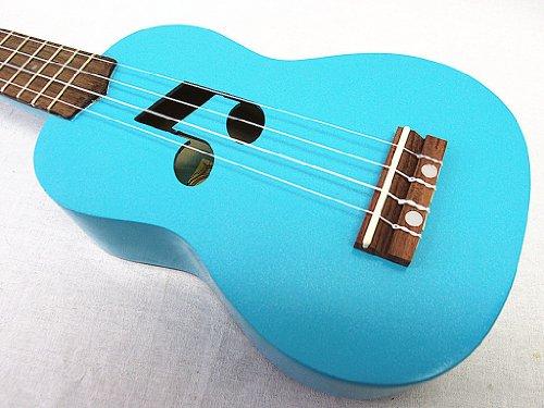 WOODNOTE Beautiful Wooden Blue with Music Hole 21' Soprano Ukulele & Brown Bag/rosewood Fingerboard & Bridge