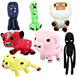 New 7Pcs/Lot Minecraft Enderman Pig Creeper Animal Plush Toy Doll Kids Xmas Gift