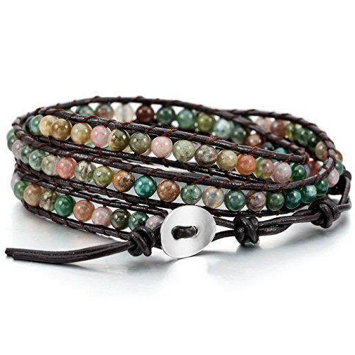MOWOM Colorful Alloy Genuine Leather Bracelet Bangle Cuff Rope India Agate Bead 3 Wrap Adjuastable