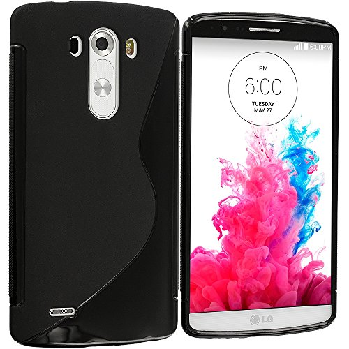 LG G3 Case, TechSpec(TM) Black S-Line TPU Rubber Skin Case Cover for LG G3 (Lg G3 Rubber Case compare prices)