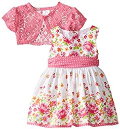 Youngland Baby Girls\' Floral Print Dress with Lace Cardigan, Multi, 12 Months