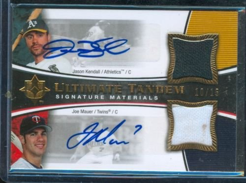 2005 Ultimate Signatureultimate Tandem Signature Materials Dual Jersey Auto Joe Mauer And Jason Kendall #D 10/15 front-688243