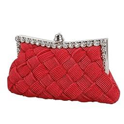 BMC Womens Evening Elegant Jeweled Rhinestone Pleated Cocktail Party Handbag-RED