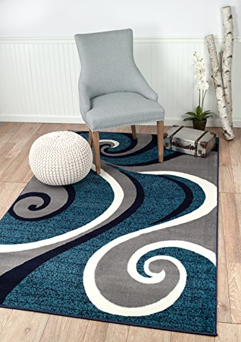New Summit # 32 Swirl Blue Navy White Light Gray Area Rug Abstract Carpet Sizes Available 2x3 2x7 4x6 5x8 8x10 (5X8 ACTUAL IS 4'10'' X 7'.2'') (Light Blue Abstract Area Rug compare prices)