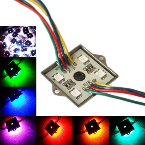 Qich® 200Pcs Rgb Module 12V Waterproof 5050 Smd 4 Led Light Wholesale 3 Years Warranty Decorative Lighting Construction With Back Self-Adhesive Tape Peel And Stick Easy To Use