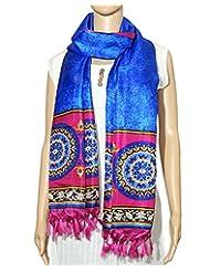 Indian Fashion Guru New Range Of Blue And Pink Ethnic Print Polysilk Dupatta For Women