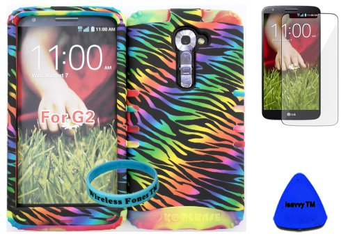 Wireless Fones Tm High Impact Hybrid Rocker Case For Lg G2 Vs980 (Verizon Only) Black Rainbow Zebra On Rainbow Silicone With Screen Protector, Isavvy Pry Tool & Wrist Band