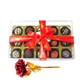 Valentine Chocholik's Luxury Chocolates - Lovely Desserts Truffles Collection With 24k Red Gold Rose