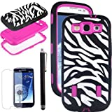 SQdeal® 3-Piece Hybrid High Impact zebra print Case Cover For Samsung Galaxy S3 I9300 Black & pink color + touch stylus + screen protector