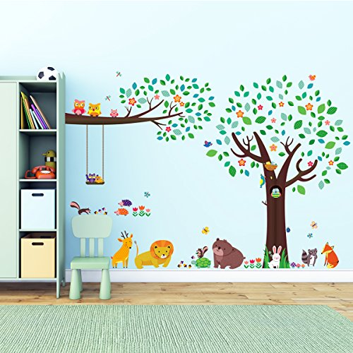 Decowall, DM-1312P1410, Large Tree and Animal Friends and Large Branch & Owls Wall Stickers