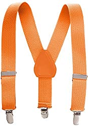 Kids Elastic Adjustable Suspenders - Orange (30
