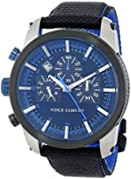 Vince Camuto Men's Quartz Watch with Blue Dial Analogue Display and Black Nylon Strap VC/1029BKBI