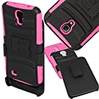 SOGA® Hybrid Heavy Duty Cover Protector Case with Belt Clip Holster Kickstand for Samsung Galaxy Mega 6.3, GT-I9200 I9205 i527 (AT&T, Sprint, MetroPCS, U.S. Cellular) - Black / Hot Pink [SWB190]