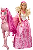 Barbie Princess Doll wth white top and Regal Unicorn Horse set