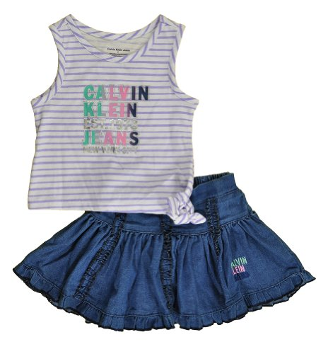 Calvin Klein Little Girls' Tie Waist Knit Top Set With Denim Skirt, Denim, 3T front-330369
