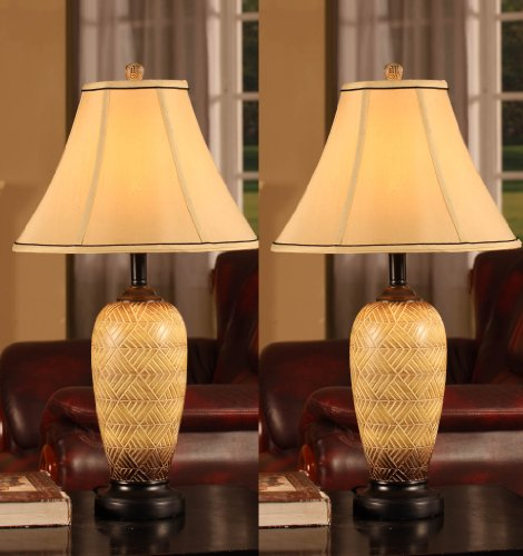 King's Brand L2604 Fabric Shade Table Lamps, Brushed Ivory finish, Set of 2