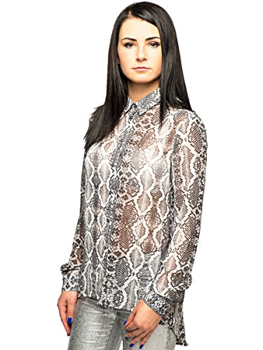 Silvian Heach - Camicia - Stampa animalier - Classico  - Maniche lunghe  -  donna Multi M/44