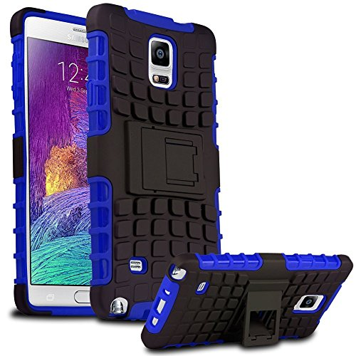 Samsung Galaxy Note 4 Case - Heavy Duty Rugged Hybrid Armor With Kickstand 2014Rn Bumper For Samsung Galaxy Note 4 Smartphone (Will Not Fit Note 4 Edge) With Matte Screen Protector Film & Stylus (Navy Blue)