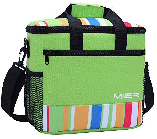MIER 24-can Large Capacity Soft Cooler Tote Insulated Lunch Bag Green Stripe Outdoor Picnic Bag (24 Milk Can compare prices)