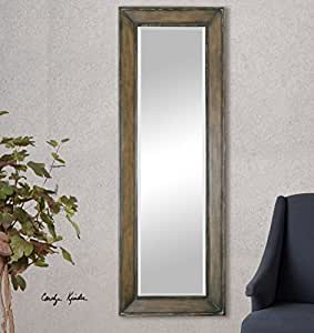 Burnished pine wood full length mirror wall for Wood floor length mirror