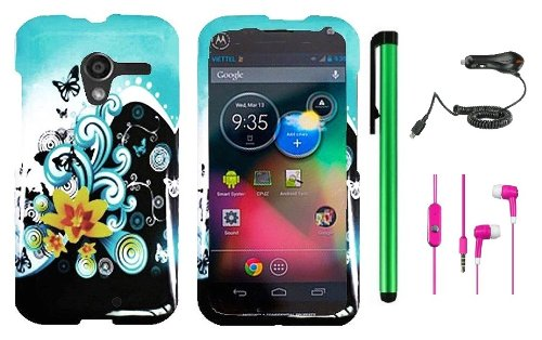 Motorola Moto X Phone Accessory Combination (2013 Fall Released) - Premium Cute Design Protector Hard Cover Case / Car Chargher / 1 Random Color Universal Handsfree Headset 3.5Mm Stereo Earphones / 1 Of New Metal Stylus Touch Screen Pen (Butterfly Yellow