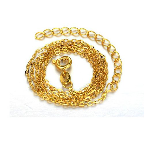 OPK-New Fashion Jewelry 18k Gold Plated in Copper Single Chain Necklace Simple Jewellery DIY Findings,18.9 Inch Lenght 1.5g Weight