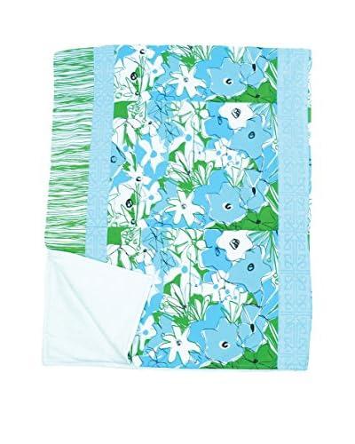 Jacque Pierro Parisian Poppies Throw, Light Blue/Medium Blue/Green/White