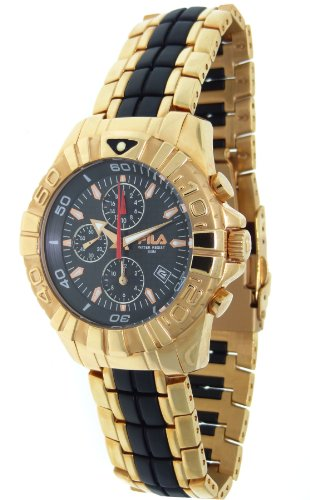 Fila Men's Mastertime Rose-gold Chronograph Black Dial Watch #FA0794-91