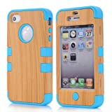 Super Spiderman Fashion Vivid Wooden Print New Dual Layer Protection ( PC + Silicone ) Hybrid Back Case Cover for Apple iPhone 4 4s 4g with Apple Logo Cutout ( Inner Sky Blue )