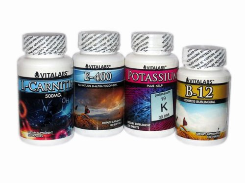 Diet Booster Pack - Athletic Performance Enhancers - L-Carnitine, Potassium, Vitamin E, & Vitamin B12