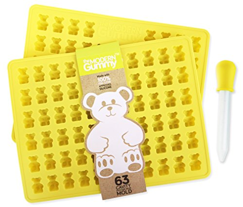 2 Pack - 63 Cavity PURE LFGB SILICONE Gummy Bear Mold by The Modern Gummy + Dropper + Recipe PDF; No Plastic Fillers, BPA, or Chemical Coating; Fruit Snack Candy, Chocolate, Soap Making, Gelatin, Ice (Gummy Making Machine compare prices)